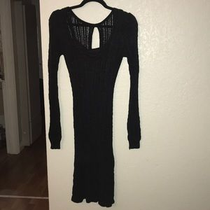 Bebé size small black cable knit long sleeve dress